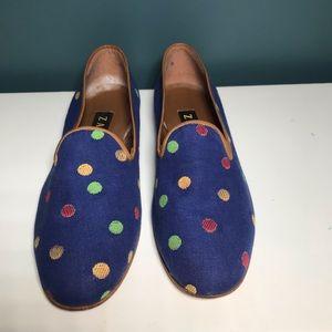 Zalo Anthropologie blue polka dot shoe 11 fabric